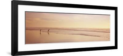 Two Children Playing on the Beach, San Francisco, California, USA--Framed Photographic Print