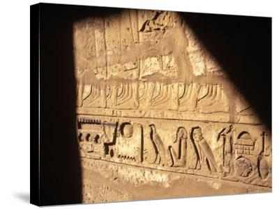 Hieroglyphics on Entrance to the Temple of Karnak-Mark Hannaford-Stretched Canvas Print