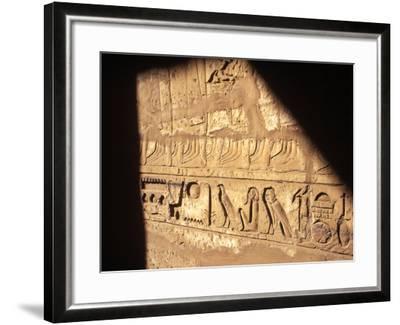 Hieroglyphics on Entrance to the Temple of Karnak-Mark Hannaford-Framed Photographic Print