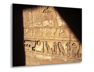 Hieroglyphics on Entrance to the Temple of Karnak-Mark Hannaford-Metal Print