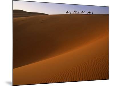 Tenere Desert, Camel Caravan Travelling Through the Air Mountains and Tenere Desert, Niger-Paul Harris-Mounted Photographic Print