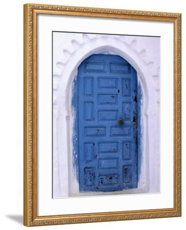 Chefchaouen Blue Door and Whitewashed Walls - Typical in Rif Mountains Town of Chefchaouen, Morocco-Andrew Watson-Framed Photographic Print