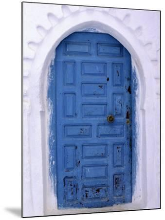 Chefchaouen Blue Door and Whitewashed Walls - Typical in Rif Mountains Town of Chefchaouen, Morocco-Andrew Watson-Mounted Photographic Print