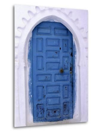 Chefchaouen Blue Door and Whitewashed Walls - Typical in Rif Mountains Town of Chefchaouen, Morocco-Andrew Watson-Metal Print