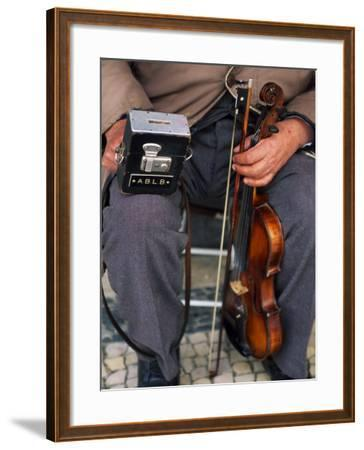 Blind Street Musician Holds His Violin in One Hand and His Collecting Box in the Other-Ian Aitken-Framed Photographic Print