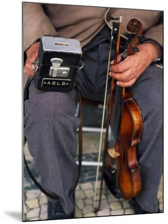 Blind Street Musician Holds His Violin in One Hand and His Collecting Box in the Other-Ian Aitken-Mounted Photographic Print