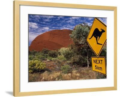 Alice Springs, Traffic Sign Beside Road Through Outback, Red Rocks of Olgas Behind, Australia-Amar Grover-Framed Photographic Print