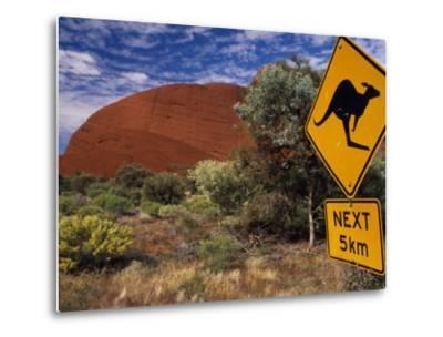 Alice Springs, Traffic Sign Beside Road Through Outback, Red Rocks of Olgas Behind, Australia-Amar Grover-Metal Print