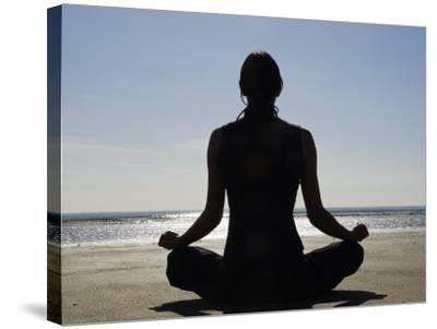 Yoga on the Beach, Northern Ireland-John Warburton-lee-Stretched Canvas Print