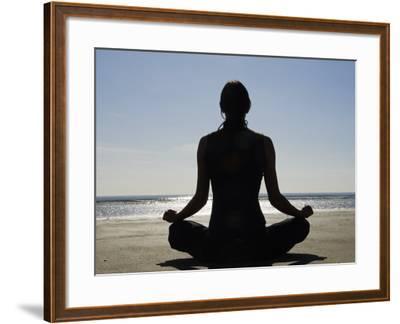 Yoga on the Beach, Northern Ireland-John Warburton-lee-Framed Photographic Print
