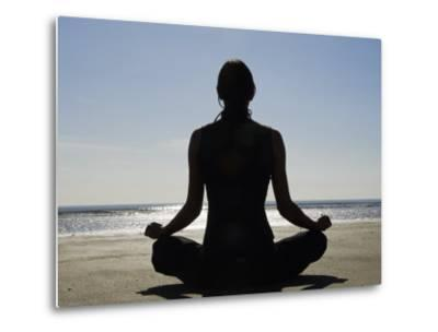 Yoga on the Beach, Northern Ireland-John Warburton-lee-Metal Print