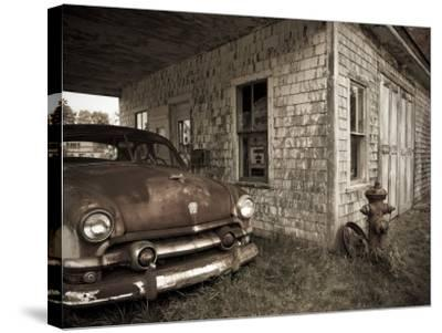 Maine, Potter, Old Gas Station, USA-Alan Copson-Stretched Canvas Print