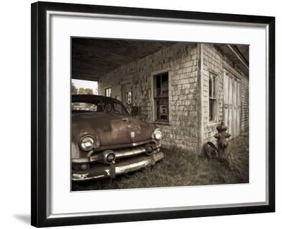 Maine, Potter, Old Gas Station, USA-Alan Copson-Framed Photographic Print