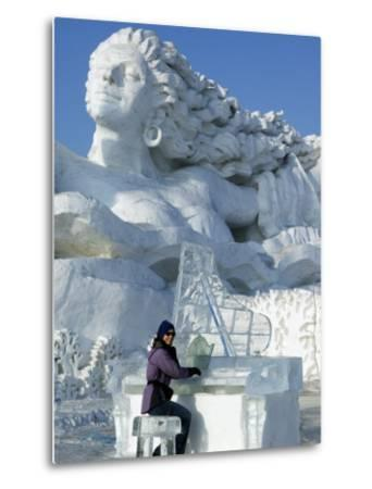 Harbin City, A Tourist Is Playing a Sculpted Ice Piano, Snow and Ice Festival, China-Christian Kober-Metal Print