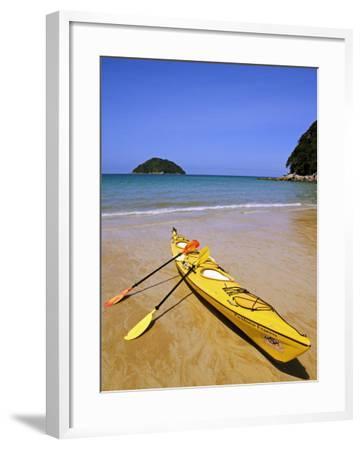 South Island, Nelson, Kayak on Onetahuti Beach in Abel Tasman National Park, New Zealand-Christian Kober-Framed Photographic Print