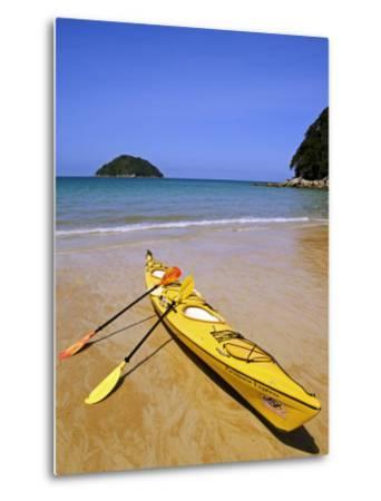 South Island, Nelson, Kayak on Onetahuti Beach in Abel Tasman National Park, New Zealand-Christian Kober-Metal Print