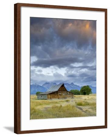 Old Barn and Teton Mountain Range, Jackson Hole, Wyoming, USA-Michele Falzone-Framed Photographic Print