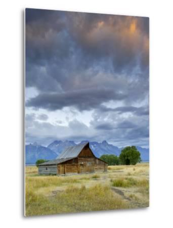 Old Barn and Teton Mountain Range, Jackson Hole, Wyoming, USA-Michele Falzone-Metal Print