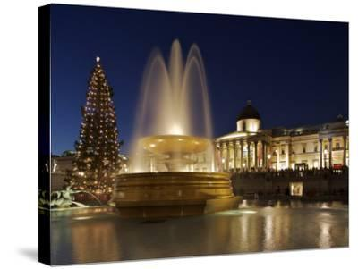 Christmas Tree and Fountains Lit Up in Trafalgar Square for Christmas-Julian Love-Stretched Canvas Print