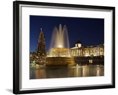 Christmas Tree and Fountains Lit Up in Trafalgar Square for Christmas-Julian Love-Framed Photographic Print