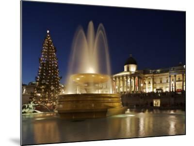 Christmas Tree and Fountains Lit Up in Trafalgar Square for Christmas-Julian Love-Mounted Photographic Print