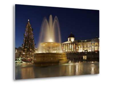 Christmas Tree and Fountains Lit Up in Trafalgar Square for Christmas-Julian Love-Metal Print