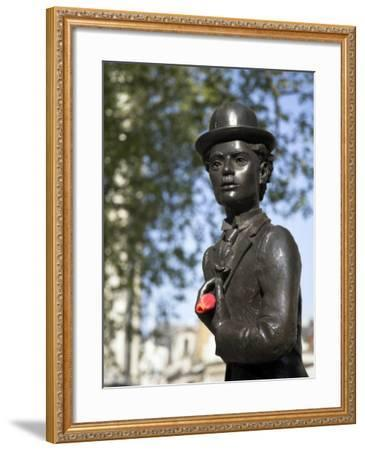 Statue of Charlie Chaplin in Leicester Square, in the Heart of London's West End-Julian Love-Framed Photographic Print