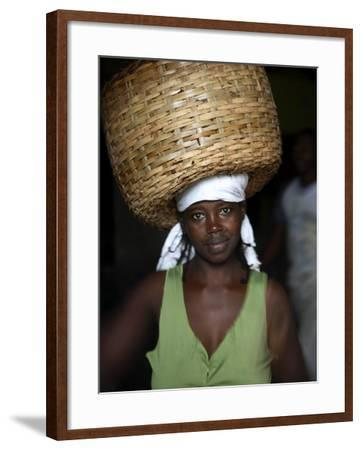 Sao Tomense Woman Carries Basket Full of Cocoa Beans, Cocoa Processing Plant in Agua Ize, Sao Tome-Camilla Watson-Framed Photographic Print