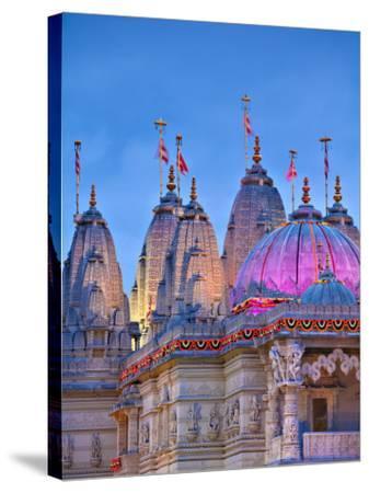 London, Neasden, Shri Swaminarayan Mandir Temple Illuminated for Hindu Festival of Diwali, England-Jane Sweeney-Stretched Canvas Print