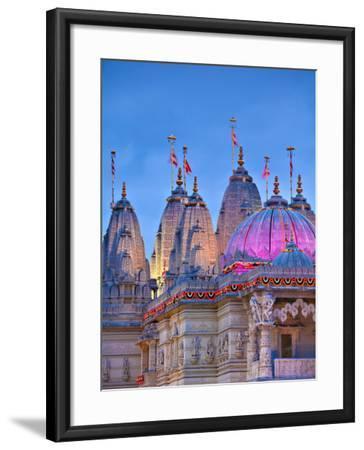 London, Neasden, Shri Swaminarayan Mandir Temple Illuminated for Hindu Festival of Diwali, England-Jane Sweeney-Framed Photographic Print