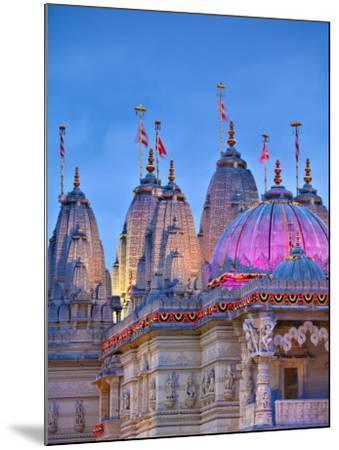 London, Neasden, Shri Swaminarayan Mandir Temple Illuminated for Hindu Festival of Diwali, England-Jane Sweeney-Mounted Photographic Print