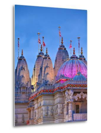 London, Neasden, Shri Swaminarayan Mandir Temple Illuminated for Hindu Festival of Diwali, England-Jane Sweeney-Metal Print