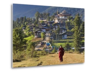 Monk Leaving Gangtey Dzong, and Village, Phobjikha Valley, Bhutan-Peter Adams-Metal Print