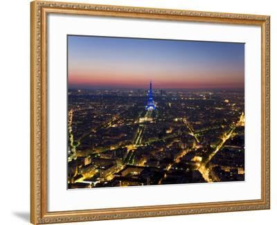 Eiffel Tower Lit in Blue, Paris at Night-Peter Adams-Framed Photographic Print