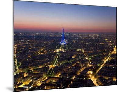 Eiffel Tower Lit in Blue, Paris at Night-Peter Adams-Mounted Photographic Print
