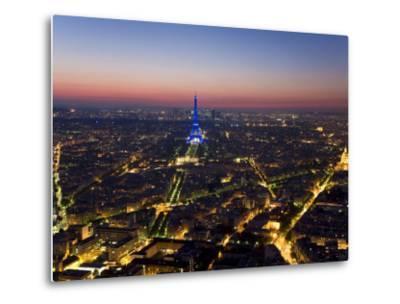 Eiffel Tower Lit in Blue, Paris at Night-Peter Adams-Metal Print