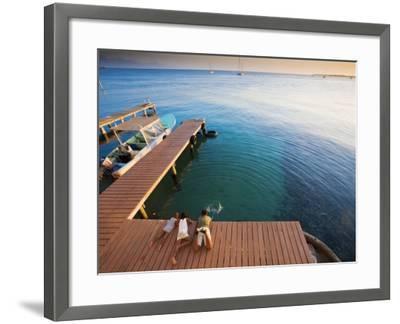 Bay Islands, Utila, Children Play on Jetty Outside Cafe Mariposa, Honduras-Jane Sweeney-Framed Photographic Print