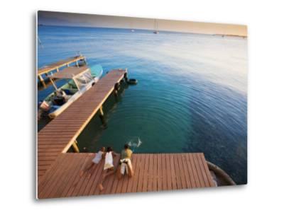 Bay Islands, Utila, Children Play on Jetty Outside Cafe Mariposa, Honduras-Jane Sweeney-Metal Print