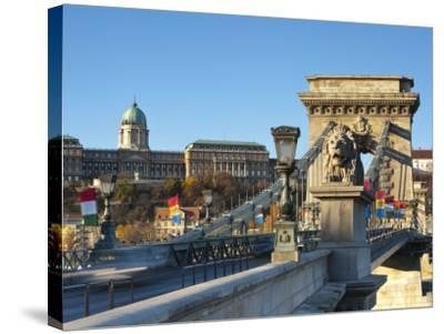 Chain Bridge and Royal Palace on Castle Hill, Budapest, Hungary-Doug Pearson-Stretched Canvas Print