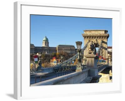 Chain Bridge and Royal Palace on Castle Hill, Budapest, Hungary-Doug Pearson-Framed Photographic Print