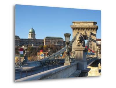 Chain Bridge and Royal Palace on Castle Hill, Budapest, Hungary-Doug Pearson-Metal Print