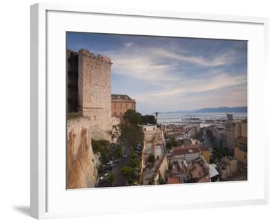Sardinia, Cagliari, Il Castello Old Town, Torre Dell' Elefante Tower, Sunset, Italy-Walter Bibikow-Framed Photographic Print