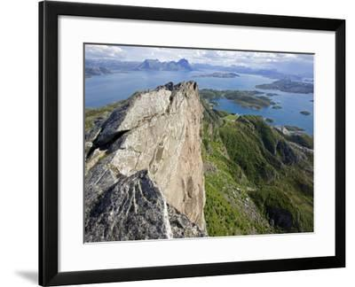Nordland, Helgeland, Rodoy Island, View of the Surrounding Islands from the 400 Metre High Peak of -Mark Hannaford-Framed Photographic Print