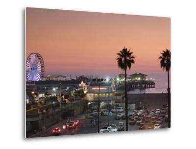California, Los Angeles, Santa Monica, Santa Monica Pier, Dusk, USA-Walter Bibikow-Metal Print