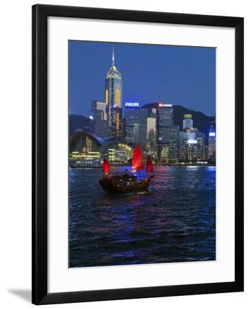 One of Last Remaining Chinese Sailing Junks, Victoria Harbour from Kowloon, Hong Kong, China, Asia-Gavin Hellier-Framed Photographic Print
