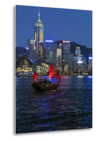 One of Last Remaining Chinese Sailing Junks, Victoria Harbour from Kowloon, Hong Kong, China, Asia-Gavin Hellier-Metal Print