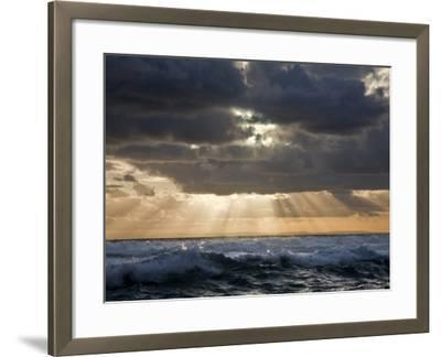 Late Afternoon, the Sun Breaks Through Threatening Clouds over Bass Straits, Victoria, Australia-Nigel Pavitt-Framed Photographic Print
