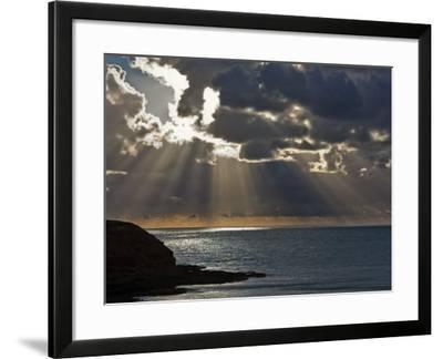 Victoria, Sun's Rays and Clouds across the Sea at Phillip Island, Australia-Nigel Pavitt-Framed Photographic Print