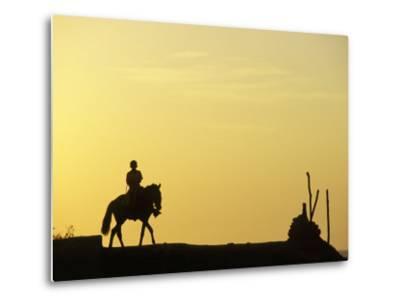 Boy on Horseback at the Beach Village of M! Ncora, in Northern Peru-Andrew Watson-Metal Print