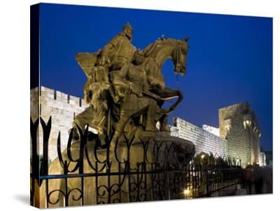 Statue of Saladin Stands in Front of the Citadel, Damascus, Syria-Julian Love-Stretched Canvas Print